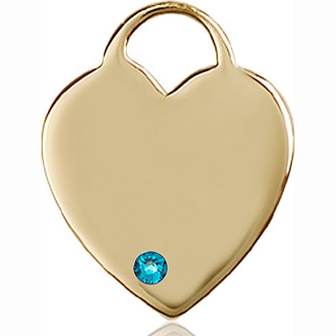 14kt Yellow Gold 1in Heart Pendant with 3mm Zircon Bead