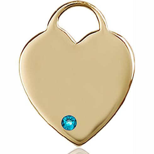 14kt Yellow Gold 1in Heart Pendant with 3mm Zircon Bead
