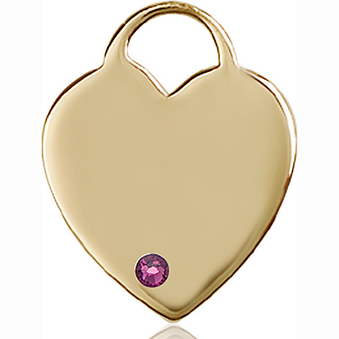 14kt Yellow Gold 1in Heart Pendant with 3mm Amethyst Bead
