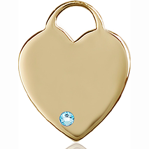 14kt Yellow Gold 1in Heart Pendant with 3mm Aqua Bead
