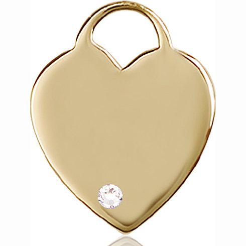 14kt Yellow Gold 1in Heart Pendant with 3mm Crystal Bead
