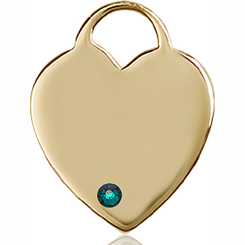 14kt Yellow Gold 1in Heart Pendant with 3mm Emerald Bead
