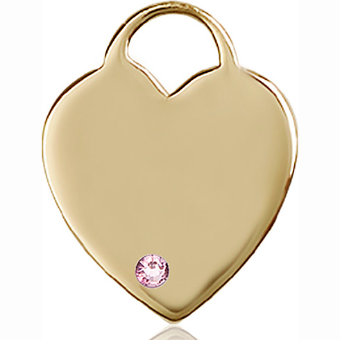 14kt Yellow Gold 1in Heart Pendant with 3mm Light Amethyst Bead