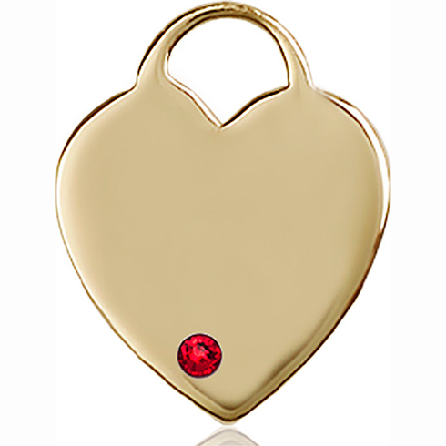 14kt Yellow Gold 1in Heart Pendant with 3mm Ruby Bead