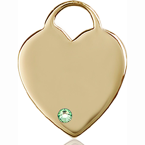 14kt Yellow Gold 1in Heart Pendant with 3mm Peridot Bead