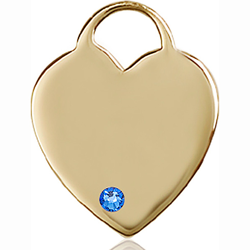 14kt Yellow Gold 1in Heart Pendant with 3mm Sapphire Bead