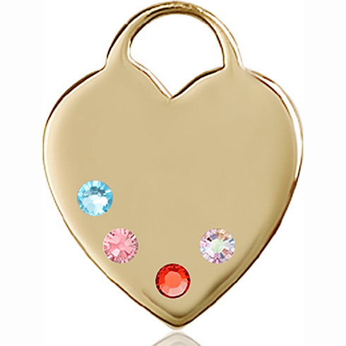 14kt Yellow Gold 1in Heart Pendant with 3mm Multi-Color Beads