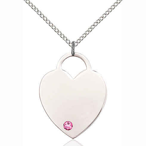 Sterling Silver 1in Heart Pendant with 3mm Rose Bead & 18in Chain