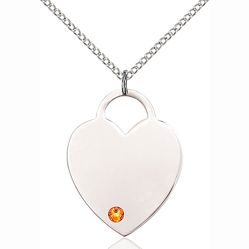 Sterling Silver 1in Heart Pendant with 3mm Topaz Bead & 18in Chain