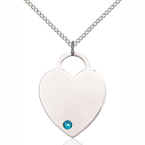 Sterling Silver 1in Heart Pendant with 3mm Zircon Bead & 18in Chain