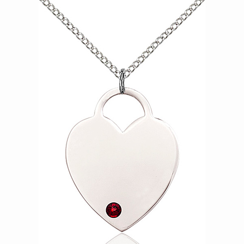 Sterling Silver 1in Heart Pendant with 3mm Garnet Bead & 18in Chain