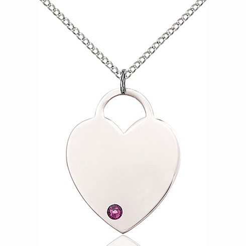 Sterling Silver 1in Heart Pendant with 3mm Amethyst Bead & 18in Chain