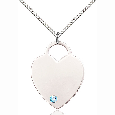 Sterling Silver 1in Heart Pendant with 3mm Aqua Bead & 18in Chain