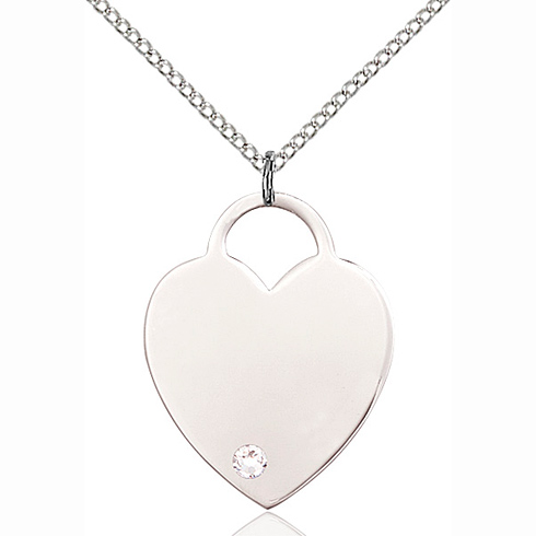 Sterling Silver 1in Heart Pendant with 3mm Crystal Bead & 18in Chain