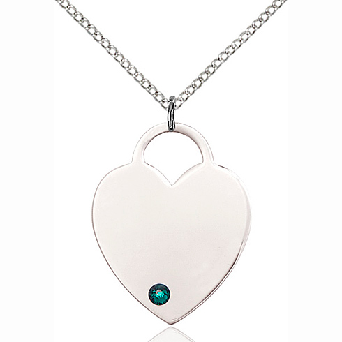 Sterling Silver 1in Heart Pendant with 3mm Emerald Bead & 18in Chain