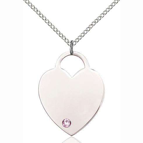 Sterling Silver 1in Heart Pendant Light Amethyst Bead & 18in Chain