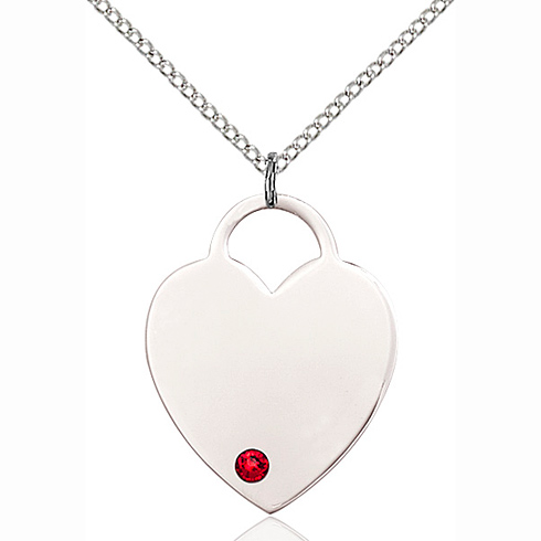 Sterling Silver 1in Heart Pendant with 3mm Ruby Bead & 18in Chain