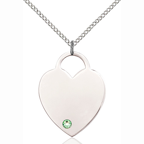 Sterling Silver 1in Heart Pendant with 3mm Peridot Bead & 18in Chain