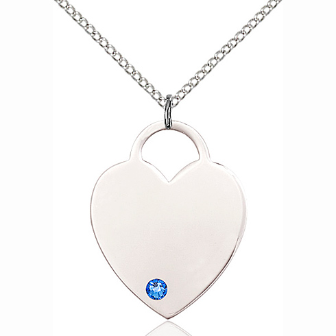 Sterling Silver 1in Heart Pendant with 3mm Sapphire Bead & 18in Chain