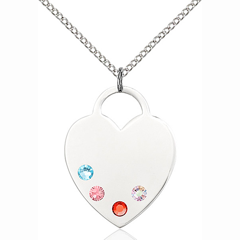 Sterling Silver 1in Heart Pendant with Multi-Color beads & 18in Chain