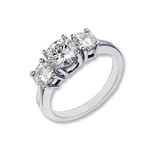 6 CT TW 14KW Moissanite 3-Stone Ring