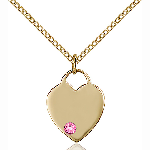 Gold Filled 5/8in Heart Pendant with 3mm Rose Bead & 18in Chain