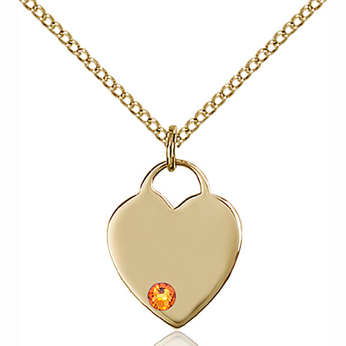 Gold Filled 5/8in Heart Pendant with 3mm Topaz Bead & 18in Chain
