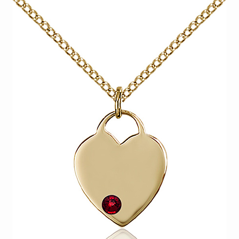 Gold Filled 5/8in Heart Pendant with 3mm Garnet Bead & 18in Chain