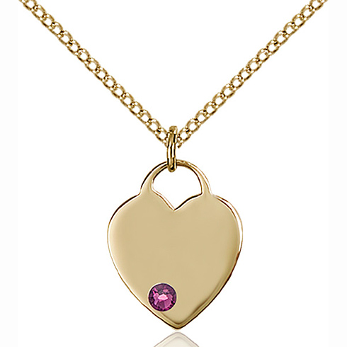 Gold Filled 5/8in Heart Pendant with 3mm Amethyst Bead & 18in Chain
