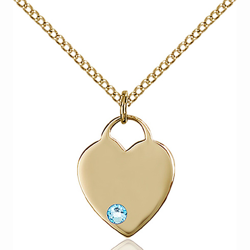 Gold Filled 5/8in Heart Pendant with 3mm Aqua Bead & 18in Chain