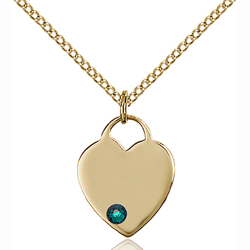 Gold Filled 5/8in Heart Pendant with 3mm Emerald Bead & 18in Chain