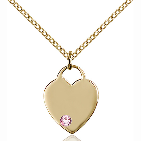 Gold Filled 5/8in Heart Pendant with Light Amethyst Bead & 18in Chain