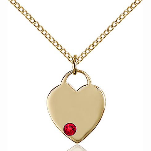 Gold Filled 5/8in Heart Pendant with 3mm Ruby Bead & 18in Chain