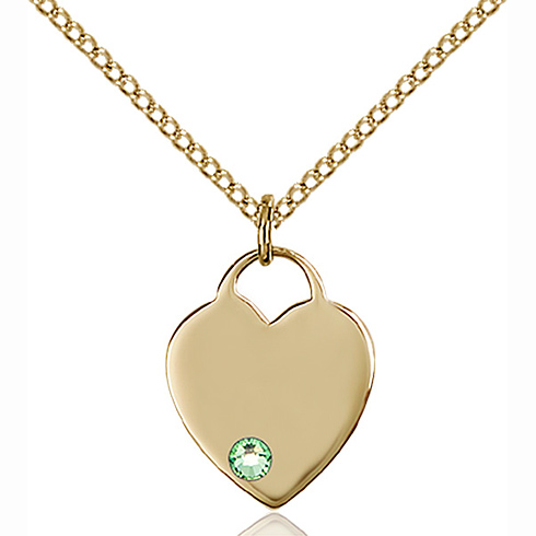 Gold Filled 5/8in Heart Pendant with 3mm Peridot Bead & 18in Chain