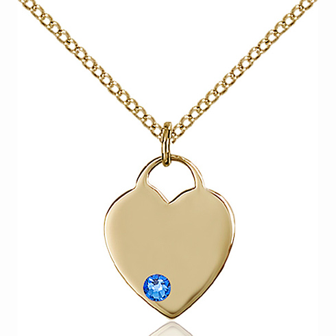 Gold Filled 5/8in Heart Pendant with 3mm Sapphire Bead & 18in Chain