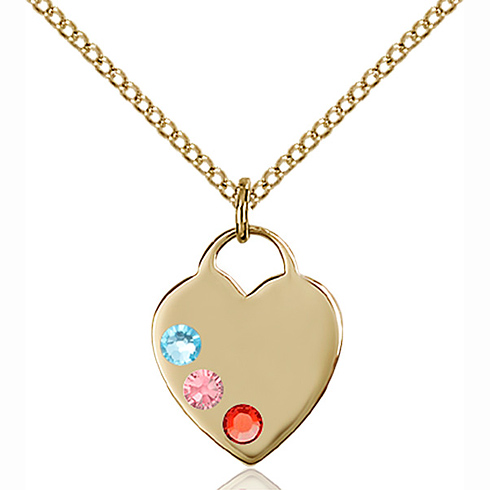 Gold Filled 5/8in Heart Pendant with Multi-Color beads & 18in Chain