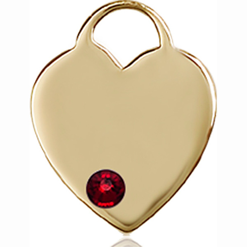 14kt Yellow Gold 5/8in Heart Pendant with 3mm Garnet Bead