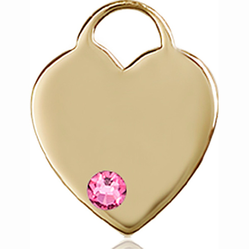 14kt Yellow Gold 5/8in Heart Pendant with 3mm Rose Bead
