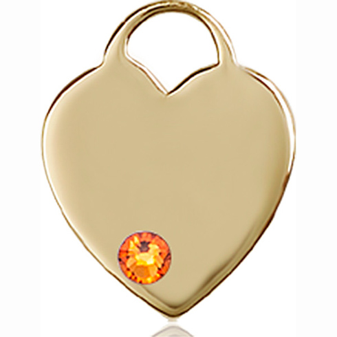14kt Yellow Gold 5/8in Heart Pendant with 3mm Topaz Bead