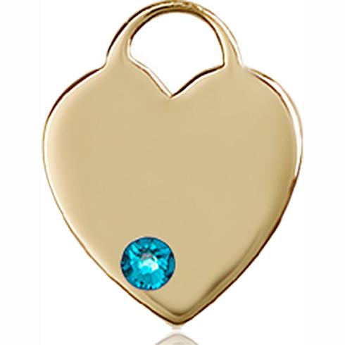 14kt Yellow Gold 5/8in Heart Pendant with 3mm Zircon Bead