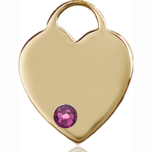14kt Yellow Gold 5/8in Heart Pendant with 3mm Amethyst Bead