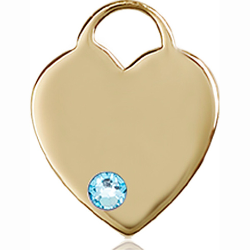 14kt Yellow Gold 5/8in Heart Pendant with 3mm Aqua Bead