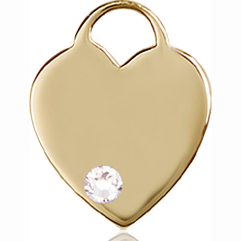 14kt Yellow Gold 5/8in Heart Pendant with 3mm Crystal Bead