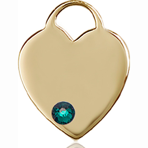 14kt Yellow Gold 5/8in Heart Pendant with 3mm Emerald Bead