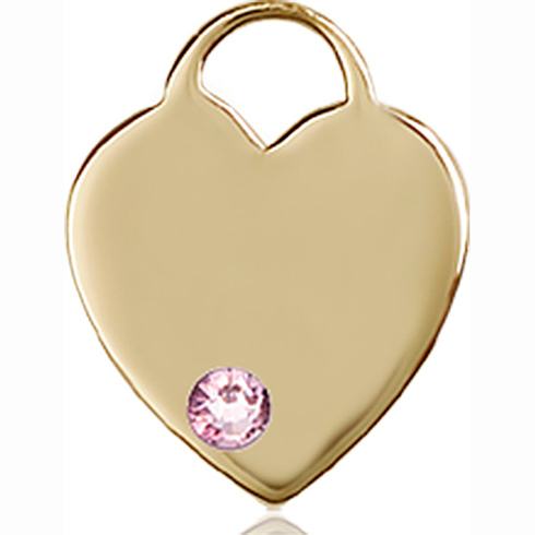 14kt Yellow Gold 5/8in Heart Pendant with 3mm Light Amethyst Bead