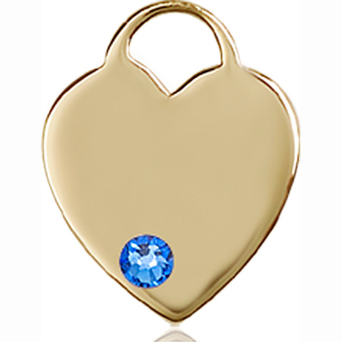 14kt Yellow Gold 5/8in Heart Pendant with 3mm Sapphire Bead