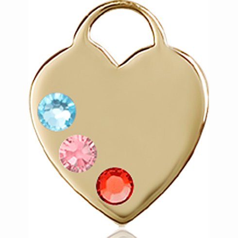 14kt Yellow Gold 5/8in Heart Pendant with 3mm Multi-Color beads &