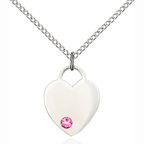 Sterling Silver 5/8in Heart Pendant with 3mm Rose Bead & 18in Chain