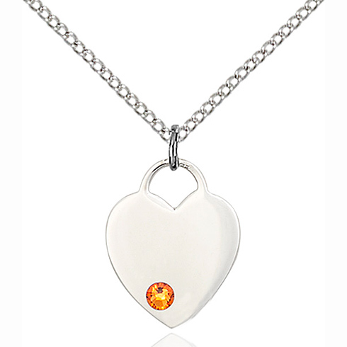 Sterling Silver 5/8in Heart Pendant with 3mm Topaz Bead & 18in Chain