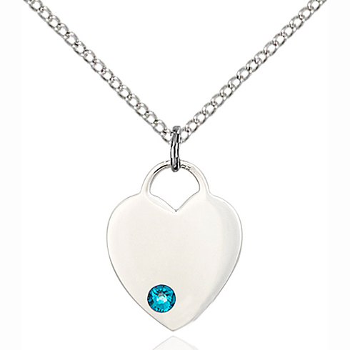 Sterling Silver 5/8in Heart Pendant with 3mm Zircon Bead & 18in Chain